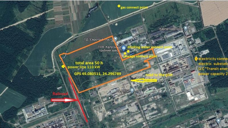 Land plot near LLC Kalusky Pipe Plant with an area of  50 ha